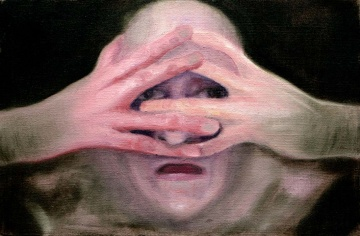 HEAD IN HANDS (46x30 oil/canvas)
